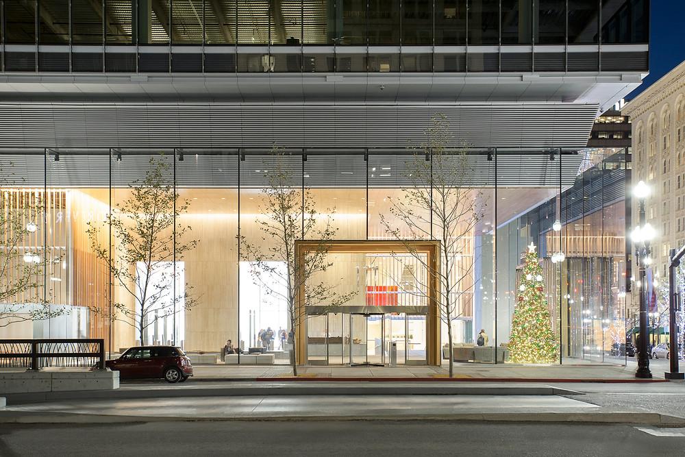 glass-encased lobby of 111 Main Salt Lake City