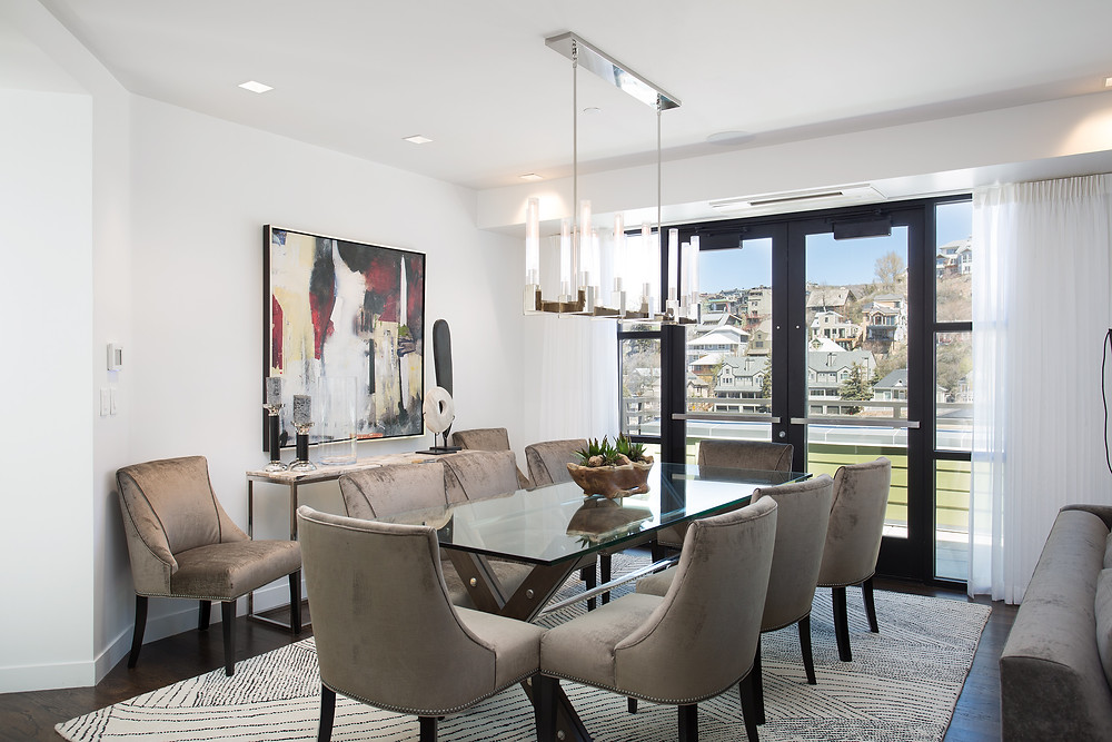 Dining Area of a park city penthouse on main street