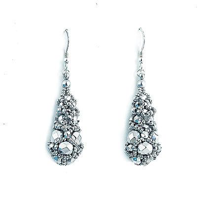 Jewelry, Earrings, Silver, Diamond, Sterling Silver, Swarovski, ML, Michelle Leonardo Design, Princess Drop Earrings