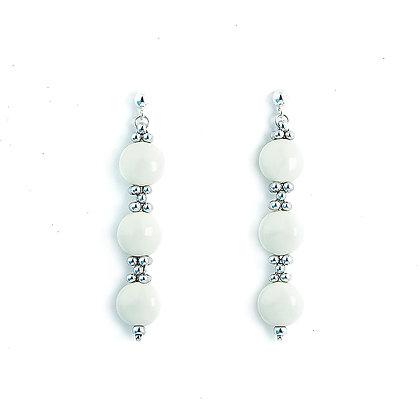 Jewelry, Earrings, Silver, Ivory, White, Sterling Silver, Swarovski, ML, Michelle Leonardo Design, Trio Earrings