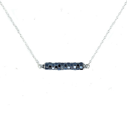 Jewelry, Necklace, Pendant, Gift, Silver, Ebony, Sterling Silver, ML, Michelle Leonardo Design, Chicago Lights Necklace
