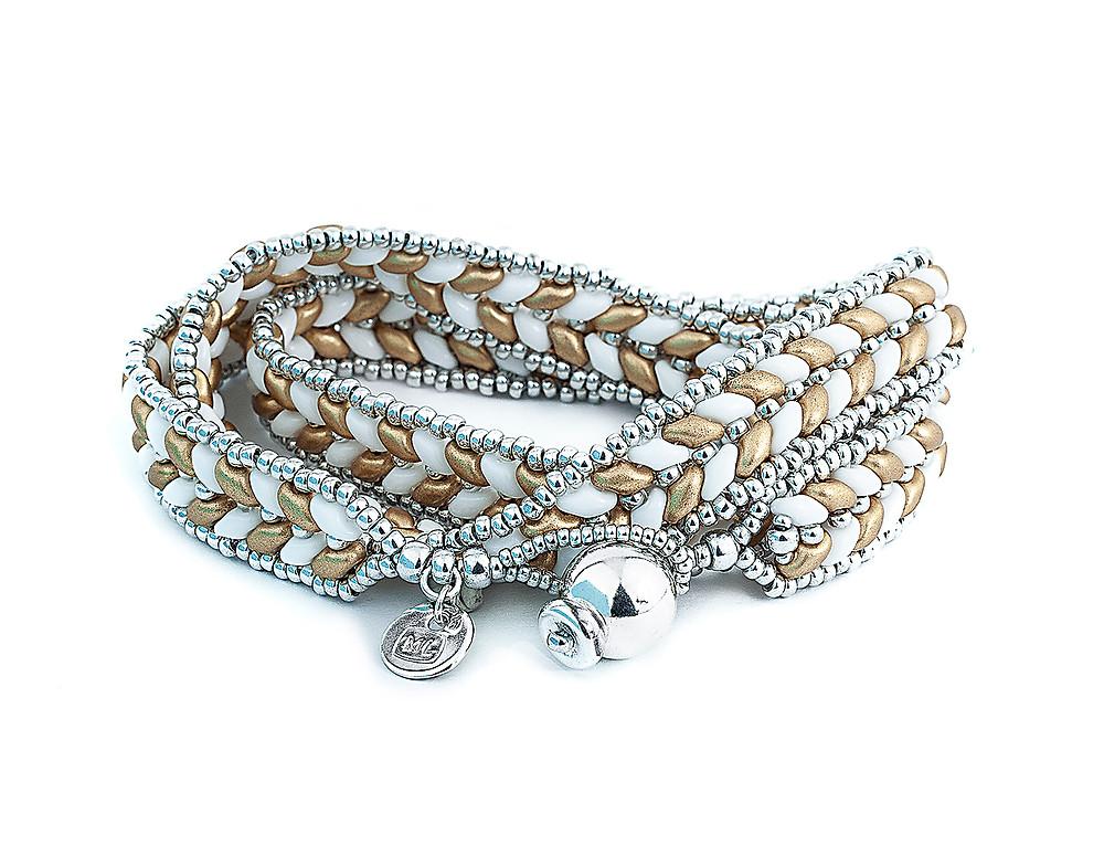 ML Herringbone Warp Bracelet—Matte Gold by Michelle Leonardo Design