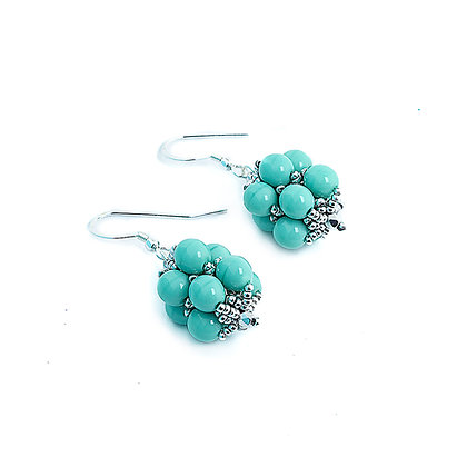 Jewelry, Earrings, Gift, Handmade, Silver, Turquoise, Sterling Silver, Hanalei, ML, Michelle Leonardo Design, Hanalei Earring
