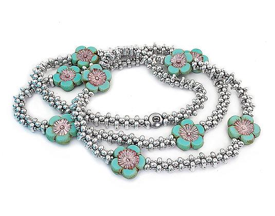 Jewelry, Necklace, Long Necklace, Gift, Silver, Turquoise, Hawaiian, Flower, Aloha, Michelle Leonardo Design, Aloha Necklace