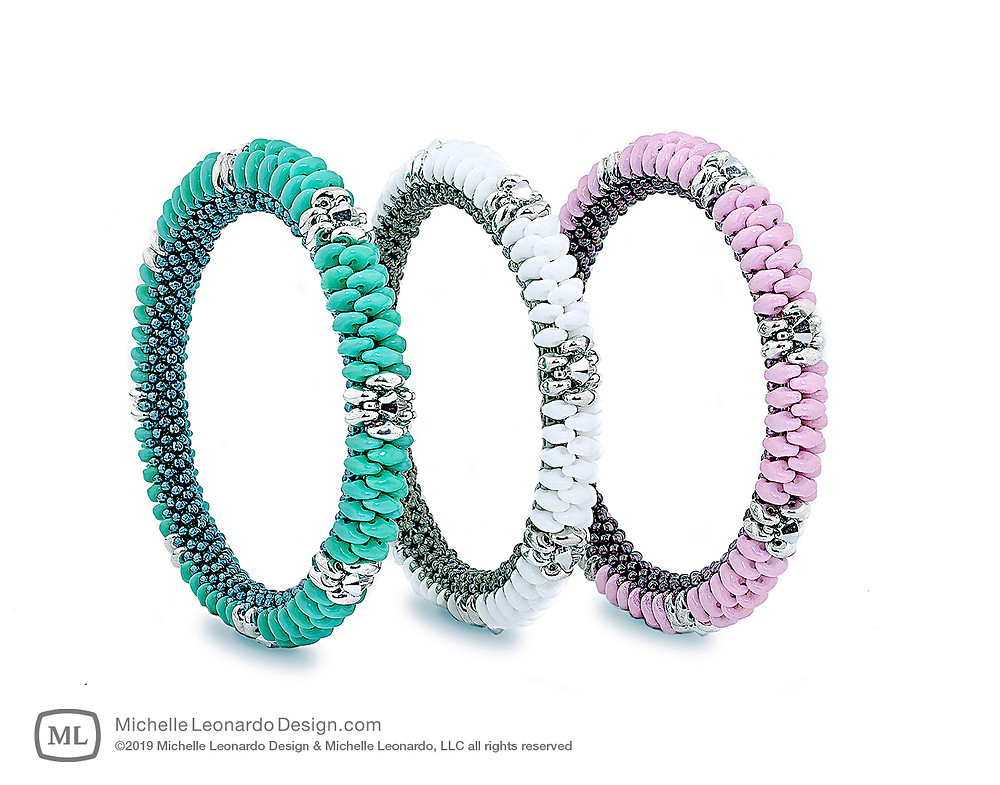 Coronado Bangles—Colors: Turquoise, Snow & Orchid Pink by Michelle Leonardo Design