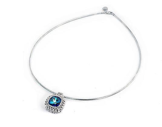 Jewelry, Necklace, Silver, Sapphire, Swarovski, Cushion Cut, ML, Michelle Leonardo Design, Classic Cushion Cut Pendant
