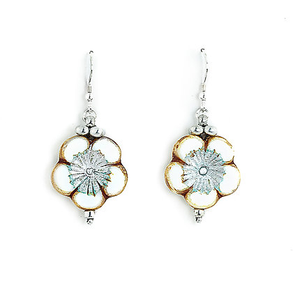 Jewelry, Earrings, Gift, Handmade, Silver, White, Sterling Silver, Hawaiian, Flower, Aloha, ML, Michelle Leonardo Design