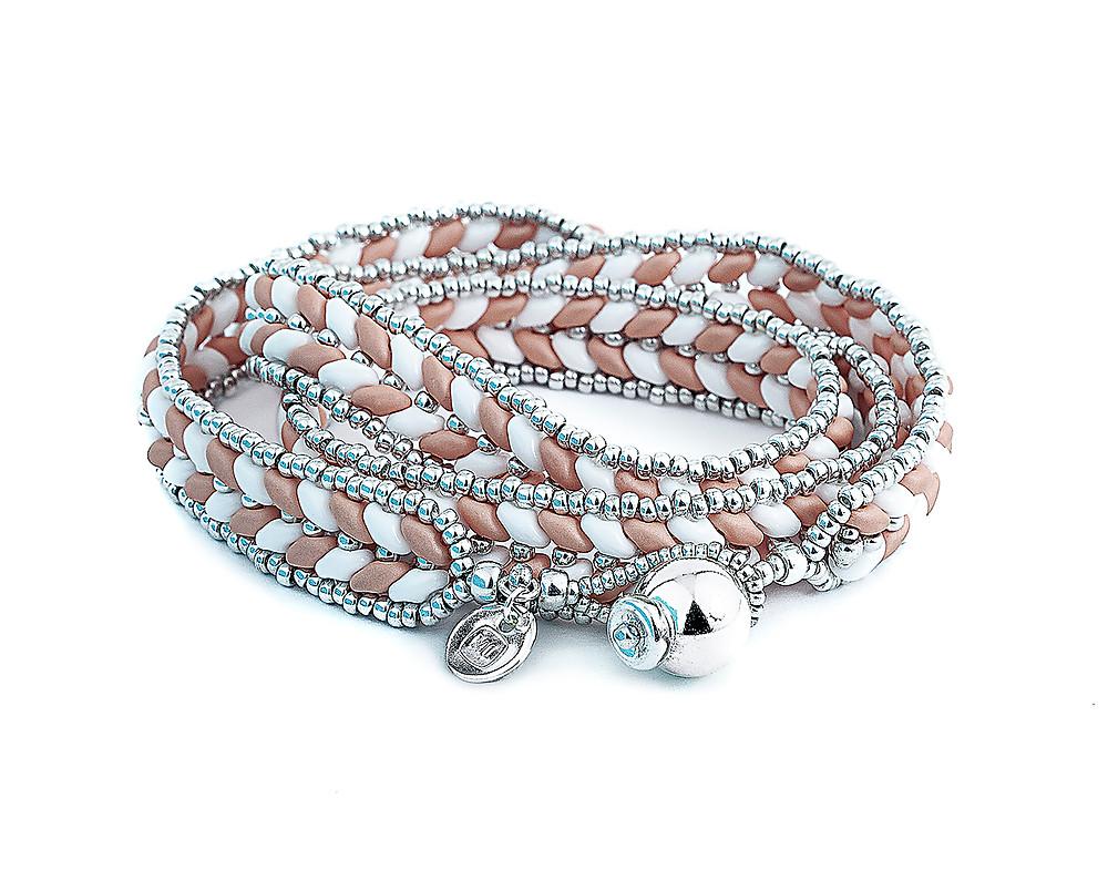 ML Herringbone Warp Bracelet—Matte Pink Coral by Michelle Leonardo Design