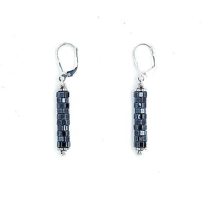 Jewelry, Earrings, Gift, Silver, Black, Sterling Silver, Sparkle, ML, Michelle Leonardo Design, Chicago Lights Earrings