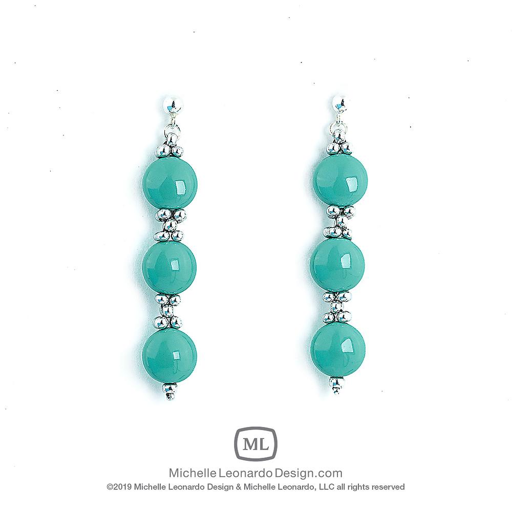 Trio Earrings—Color: East Jade by Michelle Leonardo Design