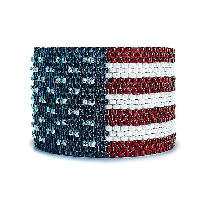 Jewelry, Bracelet, Red White And Blue, American Flag, Sterling Silver, ML, Michelle Leonardo Design, Stars & Stripes Cuff