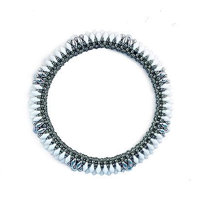 Jewelry, Bracelet, Bangle, Gift, Silver, Sterling Silver, Swarovski, White, ML, Michelle Leonardo Design, Coronado Bangle