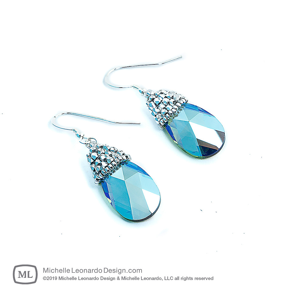 Crystal Drop Earrings—Green Opal by Michelle Leonardo Design