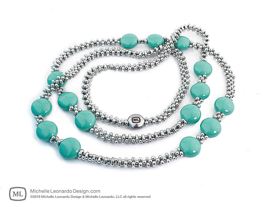 Trio Necklace—Color: East Jade by Michelle Leonardo Design