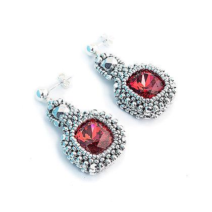 Jewelry, Earrings, Red, Ruby, Silver, Swarovski, Cushion Cut, ML, Michelle Leonardo Design, Classic Cushion Cut Earrings