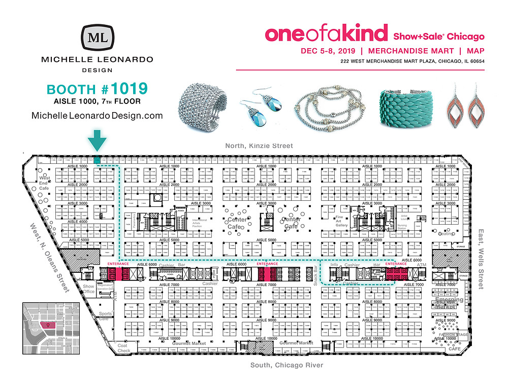 Map of One Of A Kind Show, Michelle Leonardo Design Booth #1019