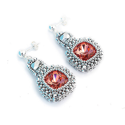 Jewelry, Earrings, Peach, Morganite, Silver, Swarovski, Cushion Cut, Michelle Leonardo Design, Classic Cushion Cut Earrings