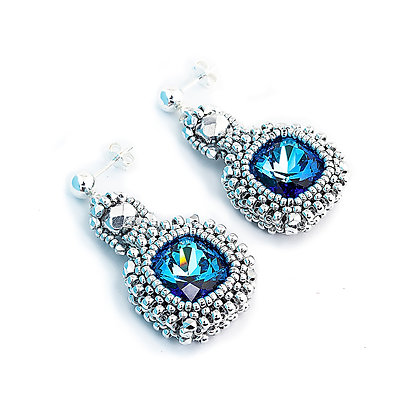Jewelry, Earrings, Blue, Sapphire, Silver, Swarovski, Cushion Cut, ML, Michelle Leonardo Design, Classic Cushion Cut Earrings