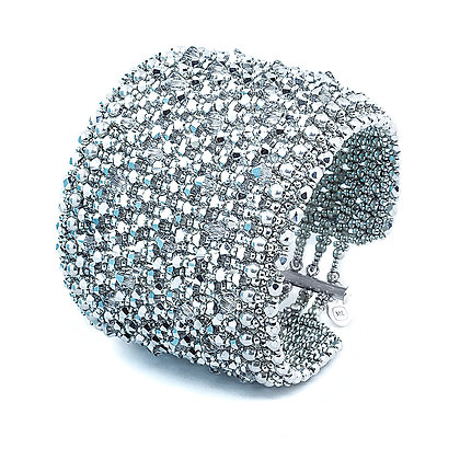 Jewelry, Bracelet, Cuff, Gift, Silver, Diamond, Sterling Silver, Swarovski, ML, Michelle Leonardo Design, Brilliance Bracelet