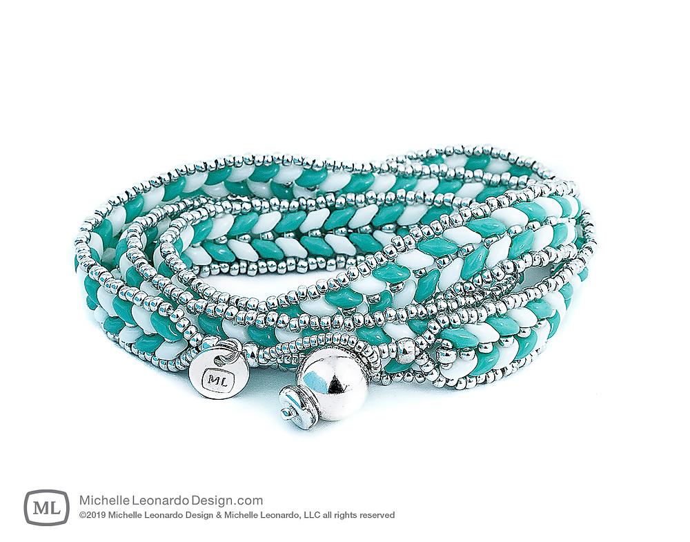 ML Herringbone Wrap Bracelet—Color: Turquoise by Michelle Leonardo Design