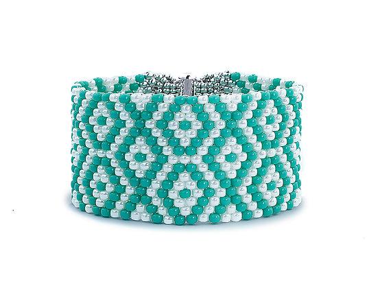 Jewelry, Bracelet, Turquoise, Pearl, Sterling Silver, Geometric, ML, Michelle Leonardo Design, God's Eye Graphic Cuff