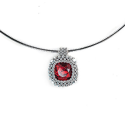 Jewelry, Necklace, Silver, Ruby, Swarovski, Cushion Cut, ML, Michelle Leonardo Design, Classic Cushion Cut Pendant