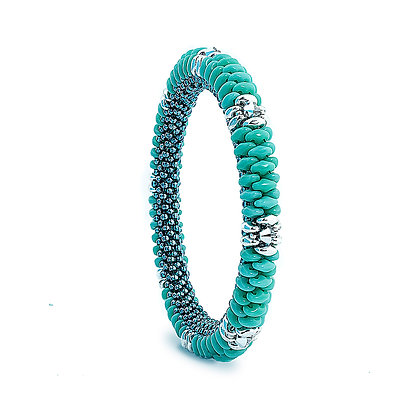 Jewelry, Bracelet, Bangle, Gift, Silver, Sterling Silver, Swarovski, Turquoise, ML, Michelle Leonardo Design, Coronado Bangle