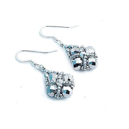 Jewelry, Earrings, Silver, Crystal, Sterling Silver, ML, Michelle Leonardo Design, Trellis Earrings
