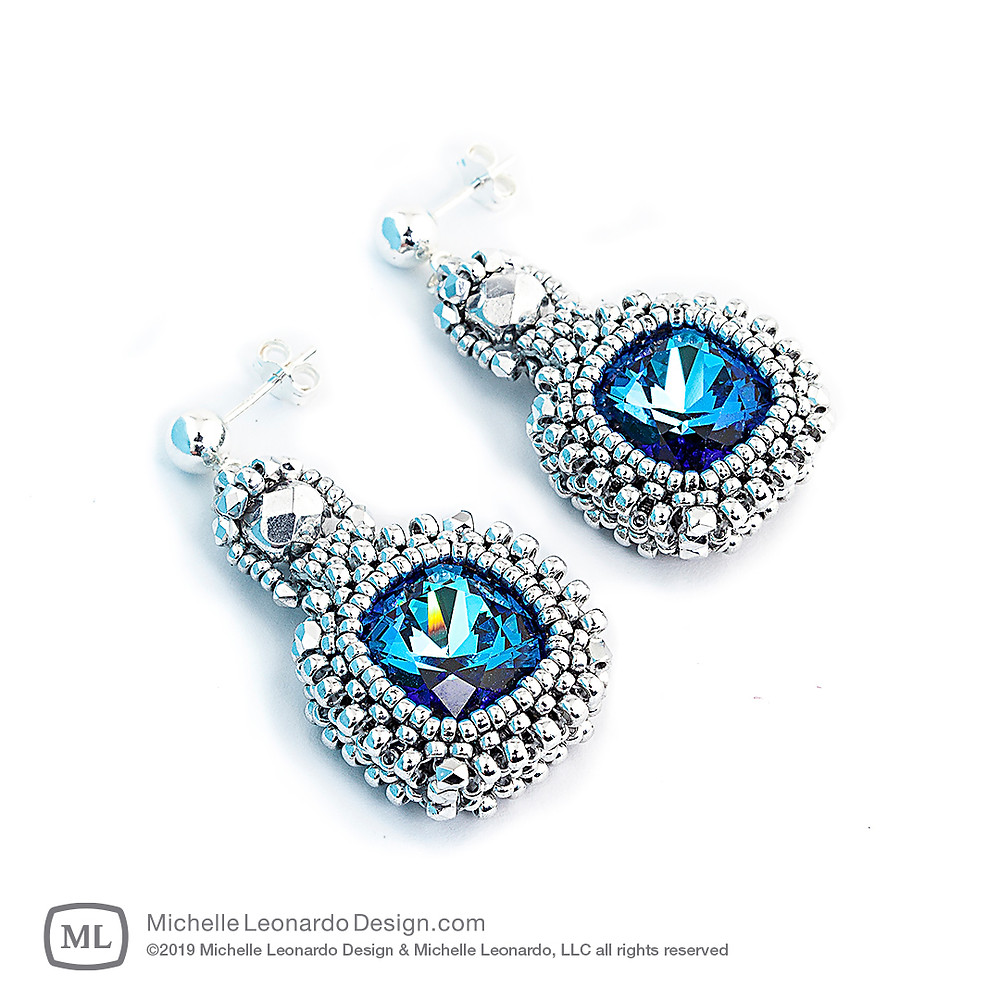 Classic Cushion Cut Earrings—Color: Sapphire by Michelle Leonardo Design