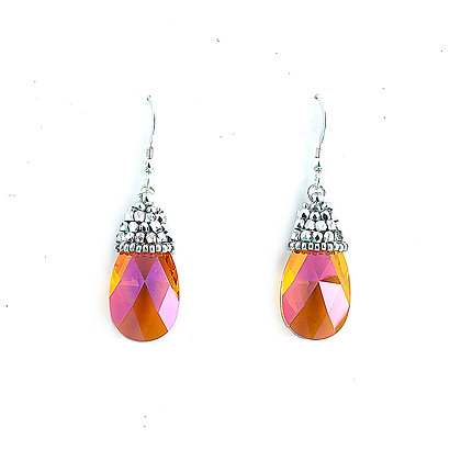 Jewelry, Earrings, Amber, Pink, Sterling Silver, Swarovski, Sparkle, Drop, ML, Michelle Leonardo Design, Crystal Drop Earring