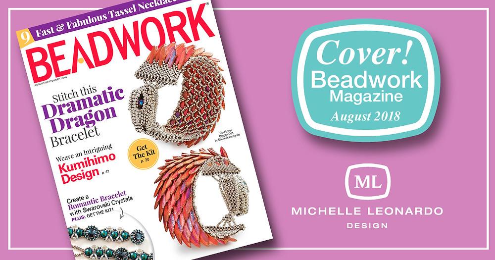Cover of Beadwork Magazine August 2018—Ouroboros Dragon Cuff by Michelle Leonardo Design