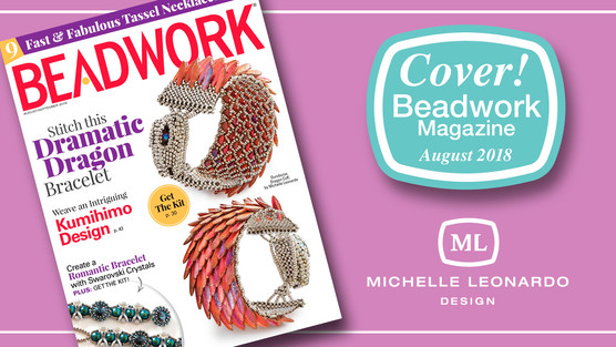 THE OUROBOROS DRAGON CUFF ON THE COVER OF AUGUST'S 2018 BEADWORK MAGAZINE
