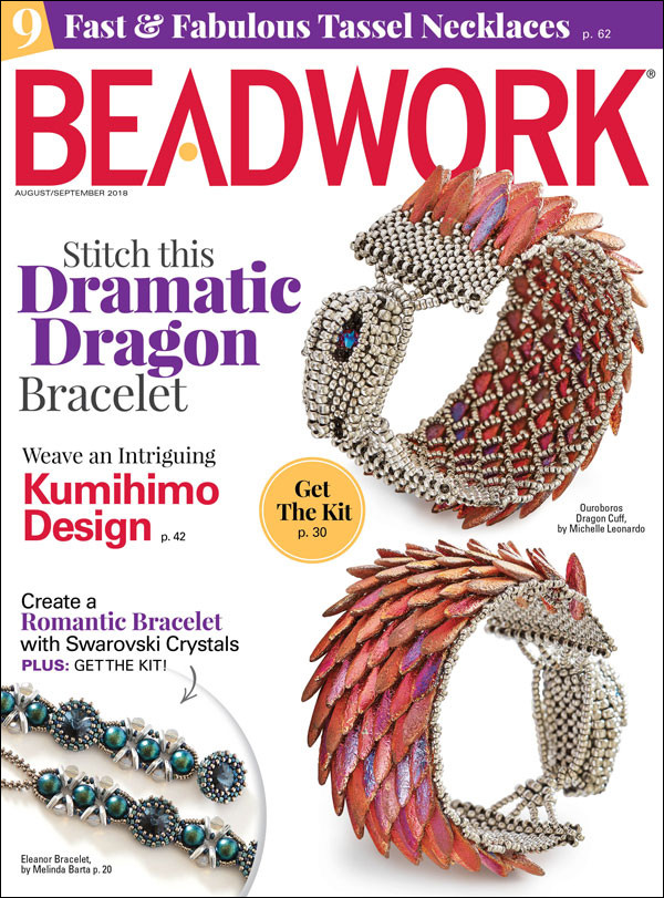 Beadwork Magazine August 2018 Cover by Michelle Leonardo, MichelleLeonardoDesign.com