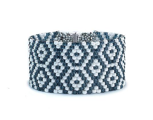 Jewelry, Bracelet, Indigo, Pearl, Sterling Silver, Geometric, ML, Michelle Leonardo Design, God's Eye Graphic Cuff