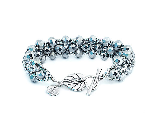 Jewelry, Bracelet, Silver, Leaf, Sterling Silver, Crystal, Sparkle, ML, Michelle Leonardo Design, Trellis Bracelet