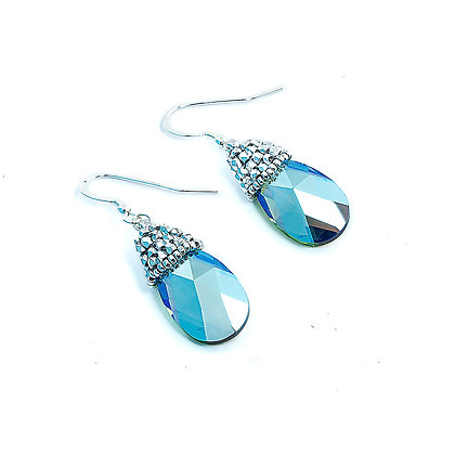Jewelry, Earrings, Green Opal, Sterling Silver, Swarovski, Sparkle, Drop, ML, Michelle Leonardo Design, Crystal Drop Earring