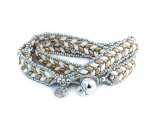 Jewelry, Wrap Bracelet, Coral, Matte Gold, Sterling Silver, ML, Michelle Leonardo Design, ML Herringbone Wrap Bracelet
