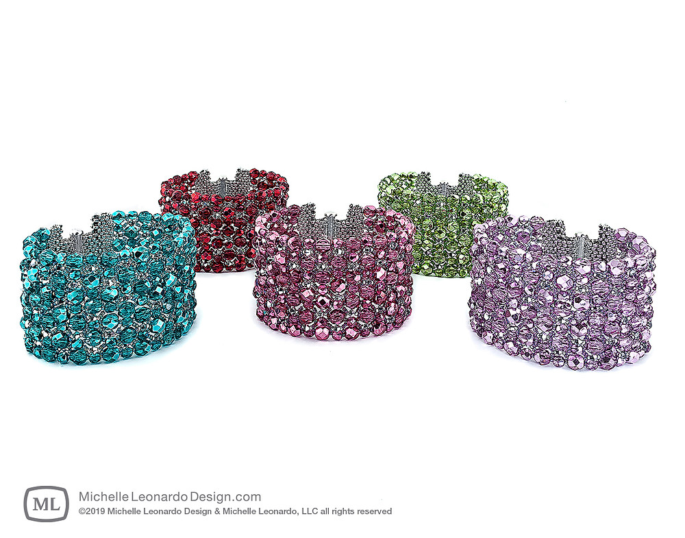 Eye Candy Bracelets—Colors: Marine Blue, Passion Red, Magenta Pink, Palm Green & Lilac Purple