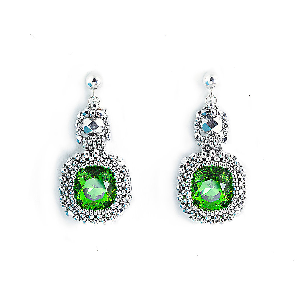 Classic Cushion Cut Earrings Emerald