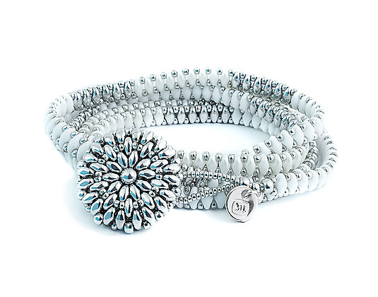 Jewelry, Bracelet, Wrap Bracelet, White, Pearl, Sterling Silver, ML, Michelle Leonardo Design, Dahlia Wrap Bracelet