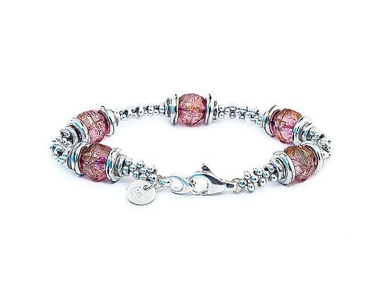 Jewelry, Bracelet, Sterling Silver, Golden Rose, Swarovski, ML, Michelle Leonardo Design, Luna Lux Bracelet