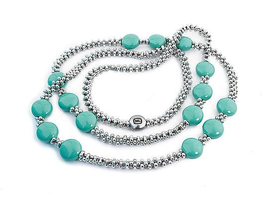 Jewelry, Necklace, Silver, East, Jade, Sterling Silver, Swarovski, ML, Michelle Leonardo Design, Trio Necklace