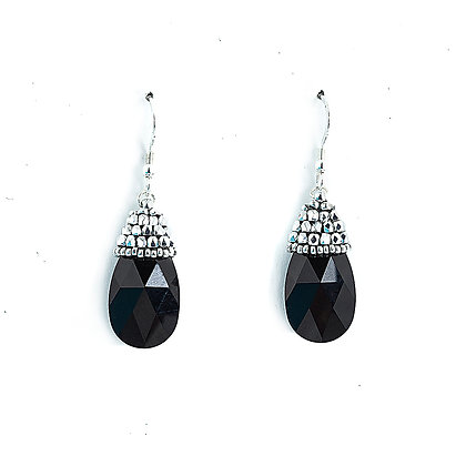 Jewelry, Earrings, Black, Onyx, Sterling Silver, Swarovski, Sparkle, Drop, ML, Michelle Leonardo Design, Crystal Drop Earring