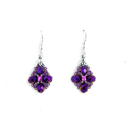 Jewelry, Earrings, Silver, Purple, Iris, Sterling Silver, ML, Michelle Leonardo Design, Trellis Earrings