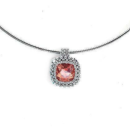 Jewelry, Necklace, Silver, Morganite, Swarovski, Cushion Cut, ML, Michelle Leonardo Design, Classic Cushion Cut Pendant