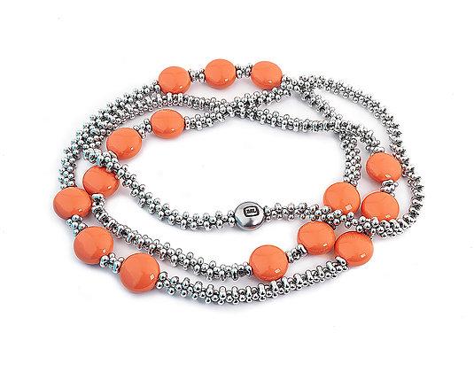 Jewelry, Necklace, Silver, Costal, Coral, Sterling Silver, Swarovski, ML, Michelle Leonardo Design, Trio Necklace