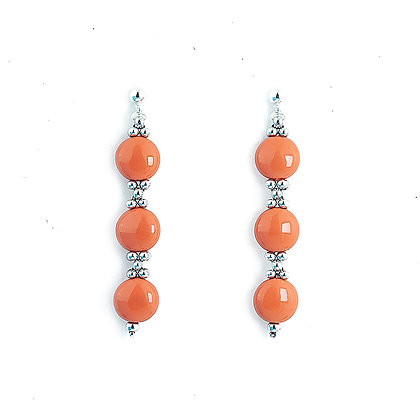 Jewelry, Earrings, Silver, Coastal, Coral, Sterling Silver, Swarovski, ML, Michelle Leonardo Design, Trio Earrings