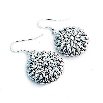 Jewelry, Earrings, Gift, Silver, Sterling Silver, Dahlia, Flower, ML, Michelle Leonardo Design, Dahlia Earrings
