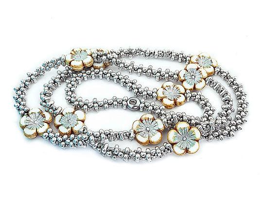 Jewelry, Necklace, Long Necklace, Gift, Silver, White, Hawaiian, Flower, Aloha, ML, Michelle Leonardo Design, Aloha Necklace