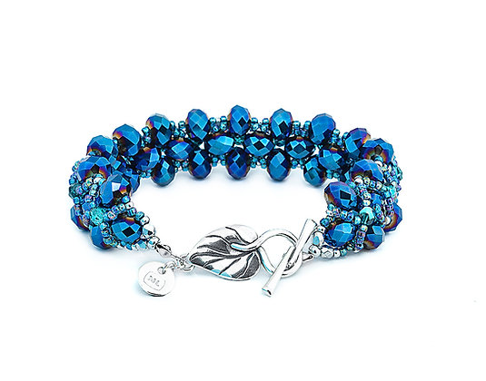 Jewelry, Bracelet, Silver, Blue, Leaf, Sterling Silver, Crystal, Sparkle, ML, Michelle Leonardo Design, Trellis Bracelet